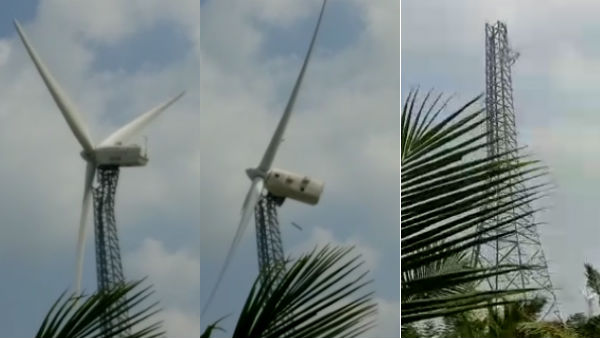 The windmill in the Nellai District has crashed