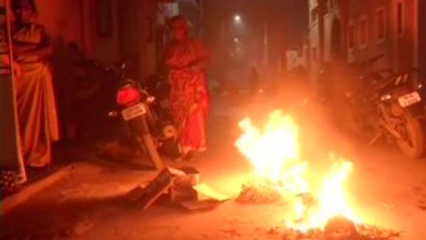 People celebrate Bhogi in Chennai marking the beginning of the four-day Pongal festival