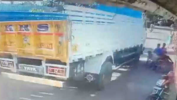 CCTV footage of a road accident