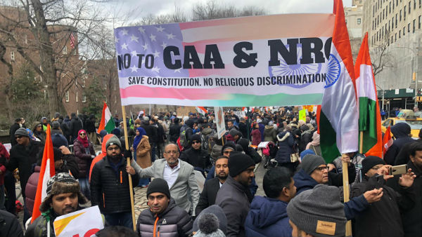 Anti CAA protest held in New York by Kaithe Millath Peravai