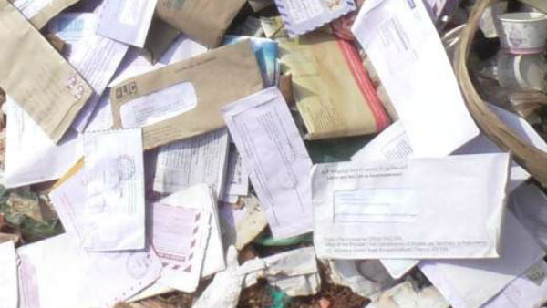 govt post letters in Trashed in manaparai, police inquiry