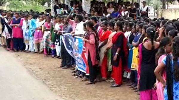 Thiruvarur college students protest against Hydro carbon projects