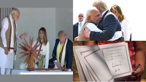 """இதுதான் கை ராட்டை.. இது காந்தியோட குரங்கு பொம்மை..""""மோடி என் நண்பன்"""".. டிரம்ப் செம ஹேப்பி!"""