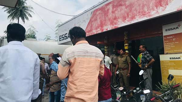 Petrol pump bomb blast incident in villupuram