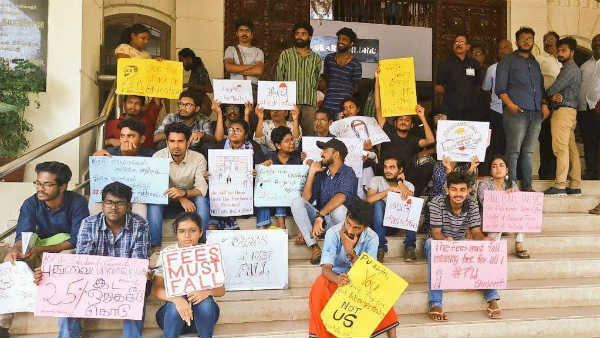 Pondicherry university students continues protest for tuition fees hike