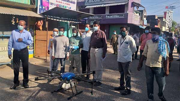 Antiseptic is sprayed on the streets by drone in Cuddalore district