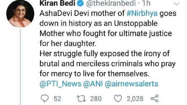Puducherry Governor Kiran bedi comment on the execution of Nirbhaya case convicts