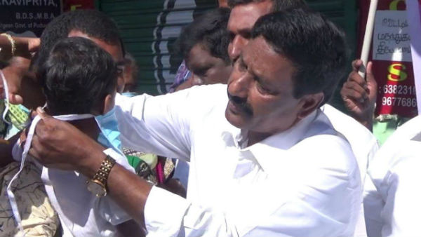 Admk party members face mask distribution to the public