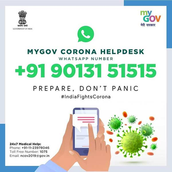Coronavirus: Government launches MyGov Corona Helpdesk on WhatsApp