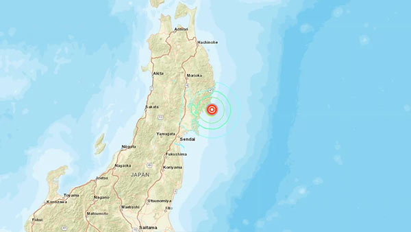 6.4 magnitude earthquake hit near the east coast of Honshu of japan