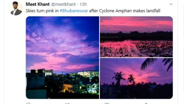 After Cyclone Amphan Passes, Bhubaneswar Sky Turned Pink And Purple