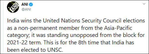 India wins unopposed UNSC's non-permanent member seat