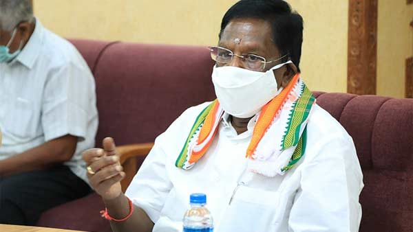 Puducherry CM V.Narayanasany press conference against governor Kiran bedi