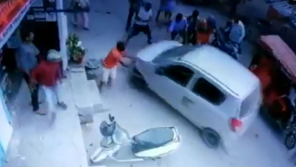 A car ran over a woman near Chilla Village in Delhi