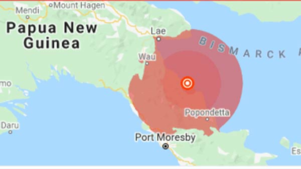 An earthquake of magnitude 7.2 struck in Papua New Guinea
