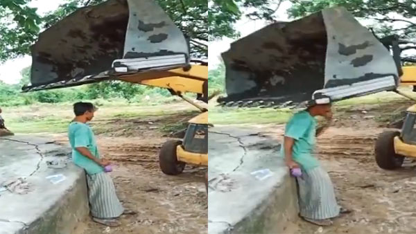 A JCB driver hits a man with its front bucket in Telangana Mulugu FIR booked