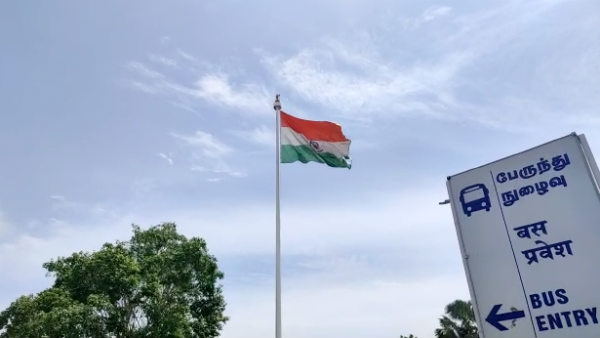 The national flag flying In torn condition at Madurai railway station