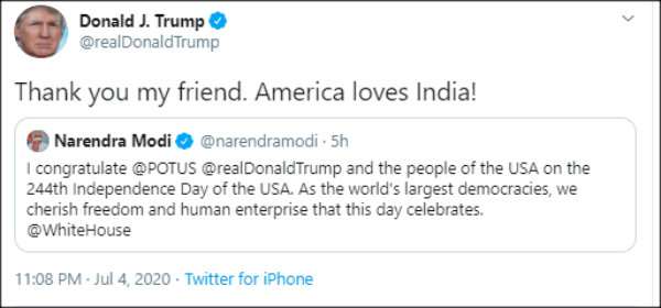 President Trump thanks PM Modi for wishing on US independence day