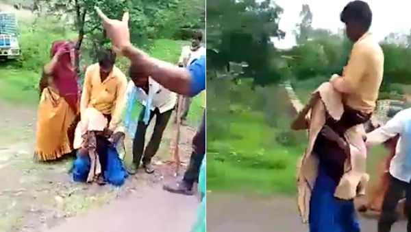MP woman forced to carry husband on shoulders, video