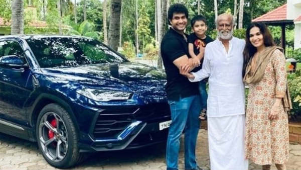 Rajinikanth went in his Lamborghini and with whom?