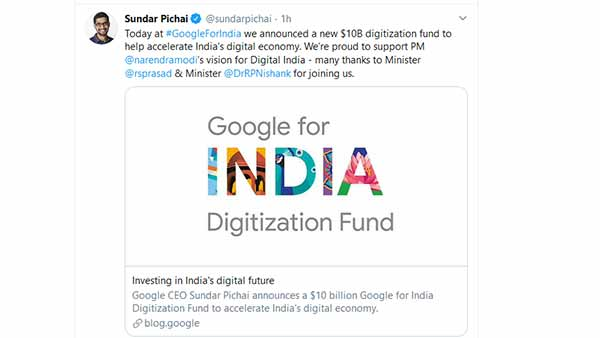 Google CEO Sundar Pichai announced a 75,000 crores dollar Digitization Fund to help accelerate India's digital economy