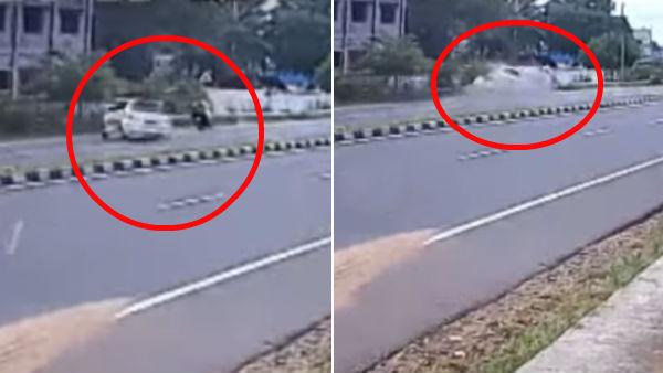 திருப்பூரில் பைக் மீது கார் மோதி சம்பவ இடத்திலேயே 3 பேர் பலி.. பதைபதைக்க வைத்த சிசிடிவி காட்சி