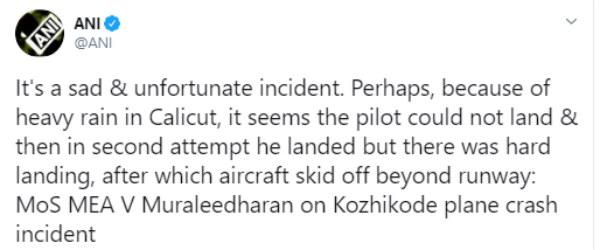 MEA MoS says about Kozhikode plane crash incident