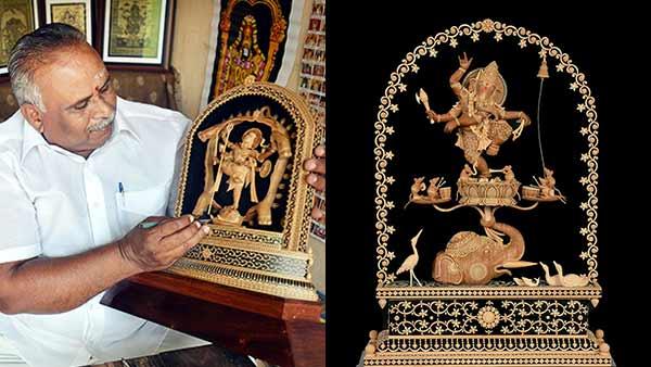 கணபதி பாப்பா மோரியா.. 11 அங்குல உயரத்தில் கியூட்டான நர்த்தன விநாயகர் சிலை.. சந்தன மரத்தில் கைவண்ணம்
