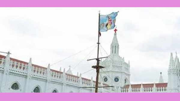 flag hoisting at Velankanni Cathedral Church without devotees