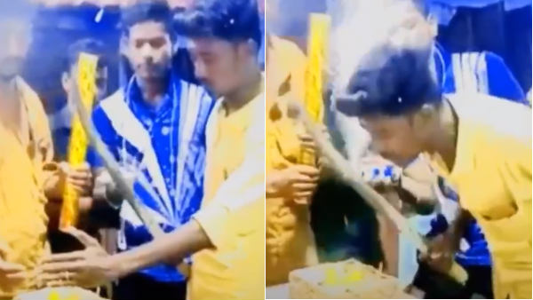 Youngsters celebrate birthday party using knife in Trichy
