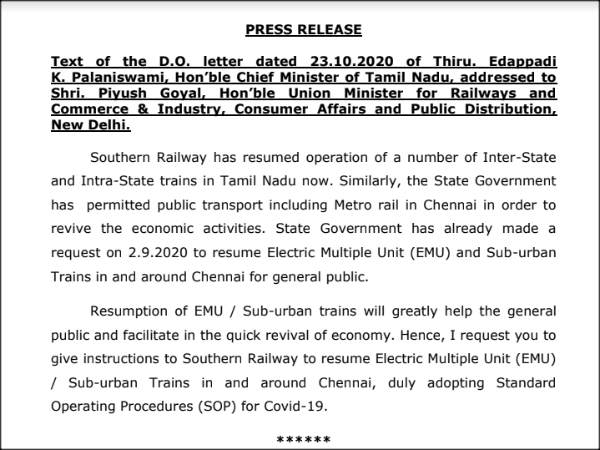 CM Edappadi Palaniswami writes to Centre to resume Suburban trains