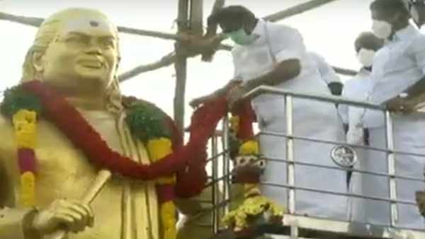 CM Edappadi Palaniswami and OPS pay respect to Thevar statue in Madurai