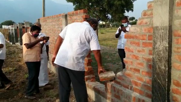 Non-standard built perimeter wall in Namakkal District Pavithram Govt School
