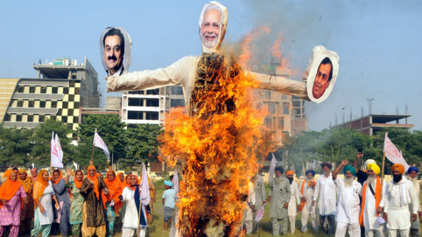 Punjab Farmers burn effigies of PM Modi, Ambai, Adani