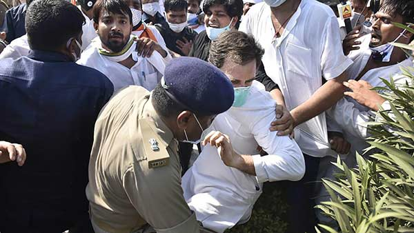 Rahul Gandhi was pushed to the ground security personnel didnt react