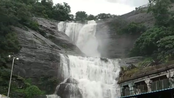 Courtallam Falls flooded with water due to good rain
