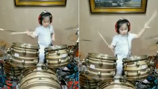 Viral video of 5 year old girl playing drums