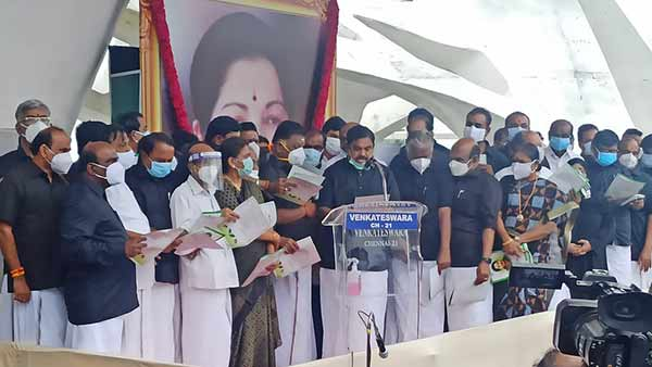 Jayalalitha Memorial Day: AIADMK workers and OBS EPS Pledge