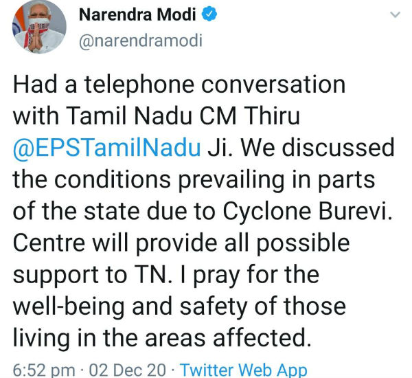 PM Modi had a telephone conversation with Tamil Nadu CM