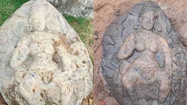 1300 ஆண்டுகள் பழமை.. வெண் கொற்றக் குடையுடன்.. காஞ்சிபுரம் அருகே பல்லவர் கால தேவி சிலை கண்டெடுப்பு