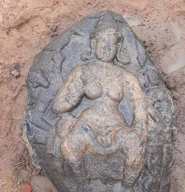A 1300 year old idol of the Goddess has been found near Kanchipuram