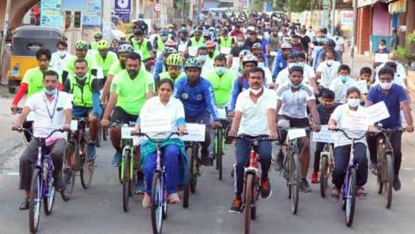 Kanyakumari District Collector rode a bicycle to create awareness among the voters