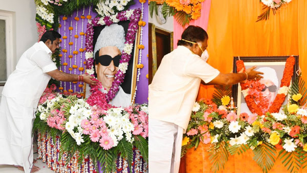 edappadi palaniswami and O. Panneerselvam pay homage to the MGR statue at the AIADMK office