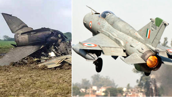 A MiG-21 fighter jet of the Indian Air Force crashed