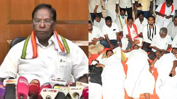 புதுச்சேரி: துணைநிலை ஆளுநர் கிரண்பேடிக்கு எதிராக விடிய விடிய முதல்வர் நாராயணசாமி போராட்டம்