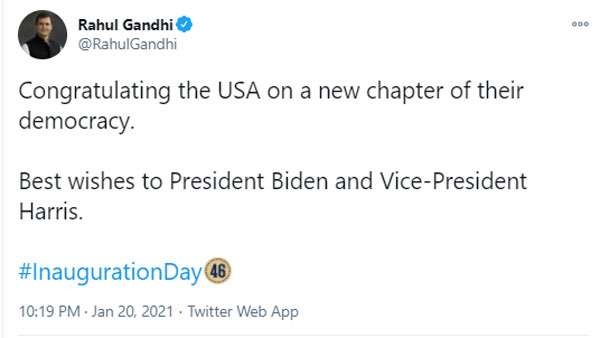 Pm Modi and Rahulgandhi greetings to joe biden