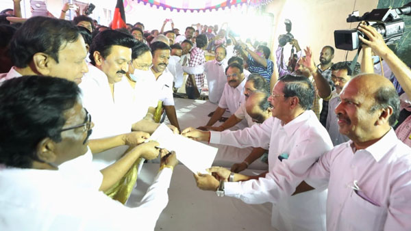 DMK President MK Stalin submits appilication seeks to Contest from kolathur constituency