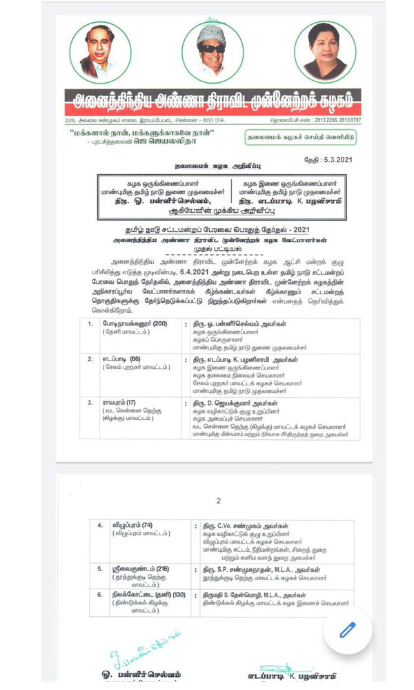 AIADMK release first phase of candidates who are contested in upcoming election