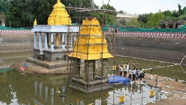 அத்திவரதர் சிலை இருக்கும் அனந்த சரஸ் குளத்தில் மீண்டும் மத்திய நீர் வளத்துறையினர் ஆய்வு