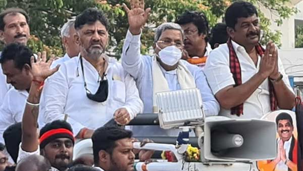 Congress senior leaders Siddaramaiah and DK Shivakumar campaigning in Hosur for DMK